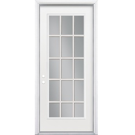 ReliaBilt Flush Insulating Core 15-Lite Right-Hand Inswing Primed Steel Prehung Entry Door (Common: 36-in x 80-in; Actual: 37.5-in x 81.5-in)