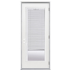 ReliaBilt Flush Insulating Core Blinds Between The Glass Full Lite Left-Hand Outswing Primed Fiberglass Prehung Entry Door (Common: 32-in x 80-in; Actual: 33.5-in x 80.375-in)