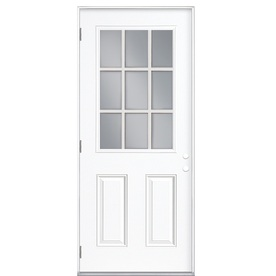 ReliaBilt 2-Panel Insulating Core 9-Lite Right-Hand Outswing Primed Fiberglass Prehung Entry Door (Common: 32-in x 80-in; Actual: 33.5-in x 80.375-in)