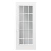 ReliaBilt Flush Insulating Core 15-Lite Left-Hand Outswing Primed Fiberglass Prehung Entry Door (Common: 32-in x 80-in; Actual: 33.5-in x 80.375-in)