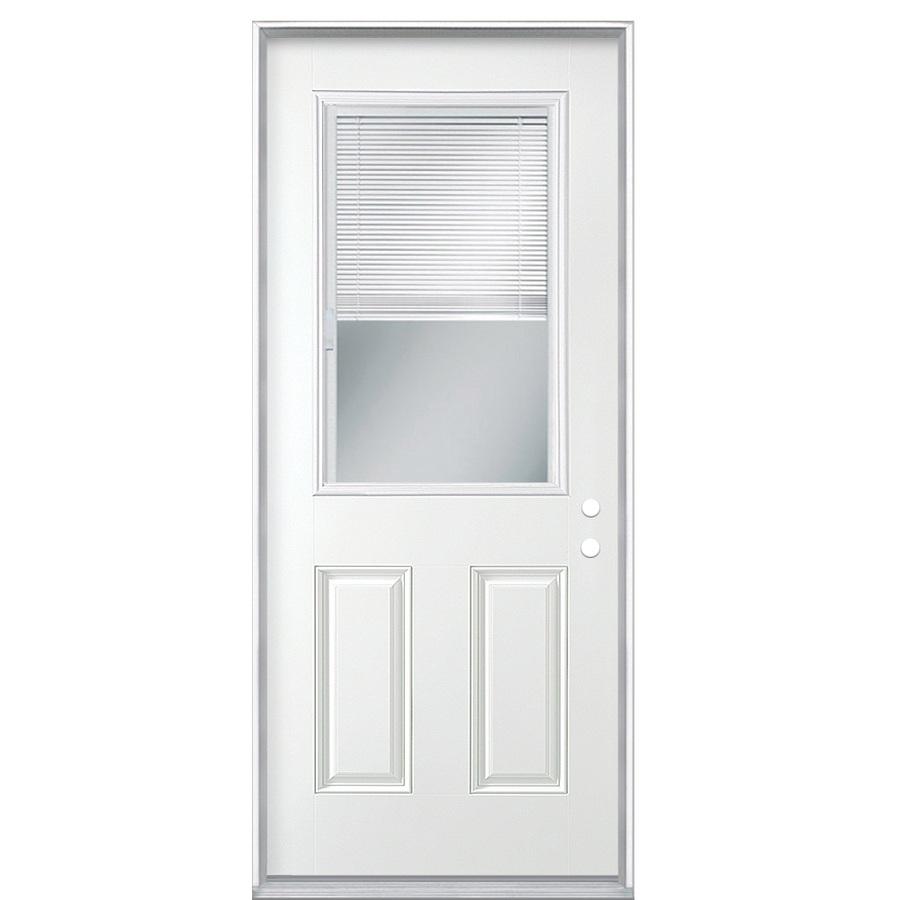 Shop ReliaBilt Blinds Between The Glass Half Lite Prehung Inswing Steel Entry