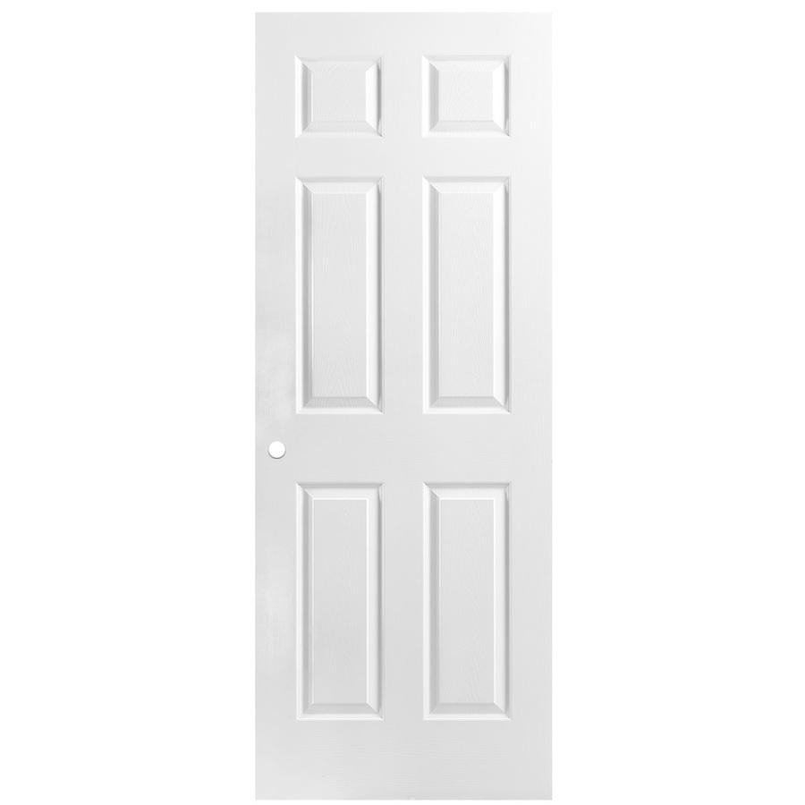 Shop Reliabilt 6 Panel Hollow Core Textured Bored Interior Slab Door Common 24 In X 80 In