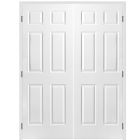 Shop reliabilt prehung hollow core 6 panel interior door common 60 in x 80 in actual 61 5 in 32 inch interior french doors