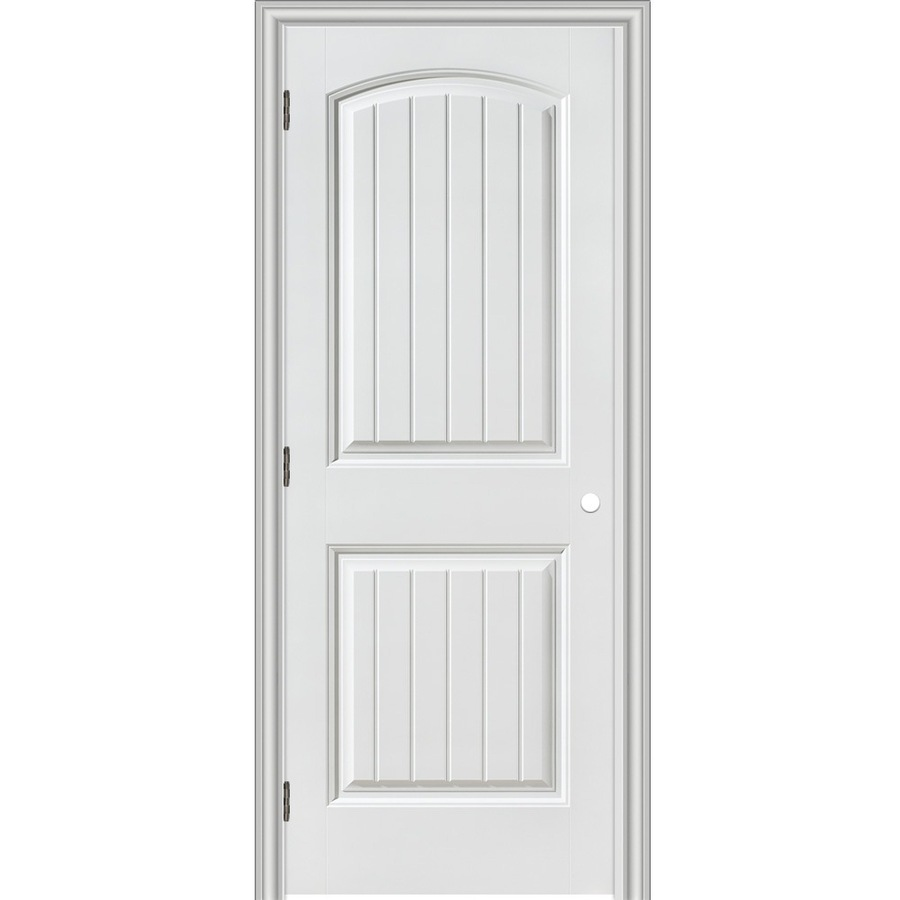 Shop reliabilt 2 panel round top plank hollow core smooth for Prehung interior doors