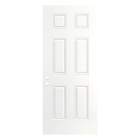 ReliaBilt 6-Panel Insulating Core Left-Hand Outswing Primed Fiberglass Prehung Entry Door (Common: 30-in x 80-in; Actual: 31.5-in x 80.375-in)