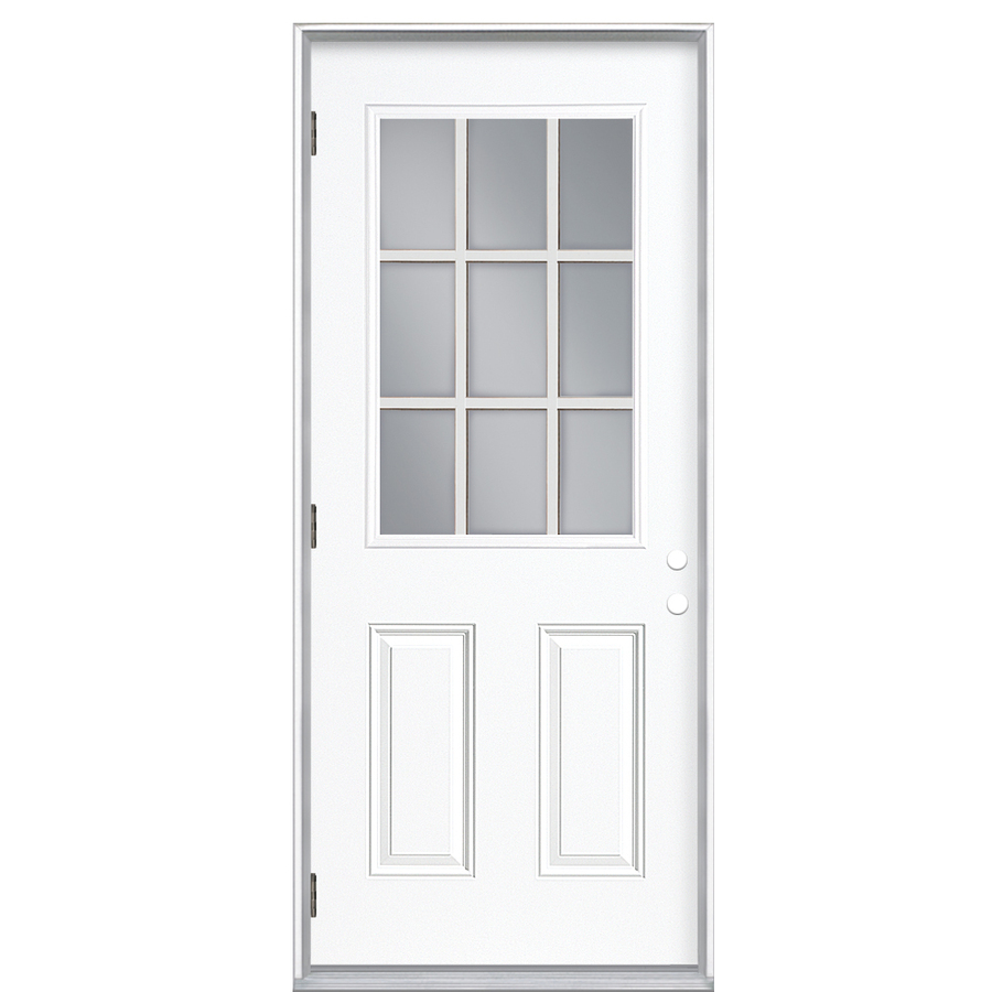 Shop reliabilt 9 lite prehung outswing steel entry door for Prehung exterior door