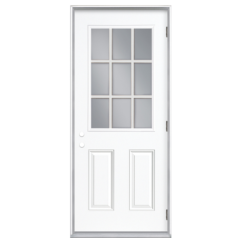 Shop reliabilt 9 lite prehung outswing steel entry door for Exterior back doors with glass