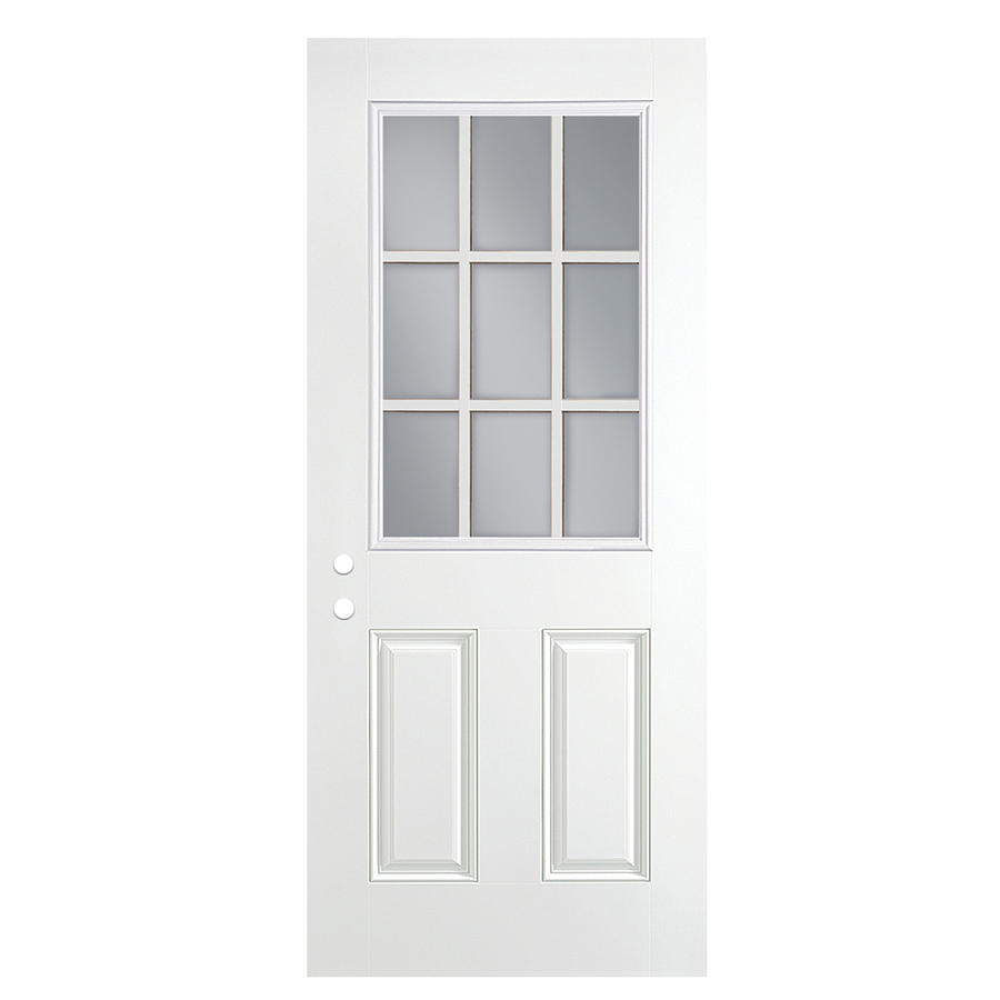 Shop Reliabilt Half Lite Clear Prehung Outswing Fiberglass Entry Door Common 30 In X 80 In