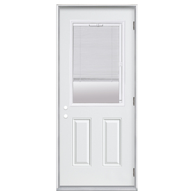 ReliaBilt 2-Panel Insulating Core Blinds Between The Glass Half Lite Left-Hand Outswing Primed Fiberglass Prehung Entry Door (Common: 32-in x 80-in; Actual: 33.5-in x 80.375-in)