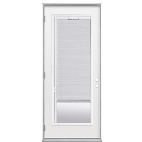ReliaBilt Flush Insulating Core Blinds Between The Glass Full Lite Right-Hand Outswing Primed Fiberglass Prehung Entry Door (Common: 36-in x 80-in; Actual: 37.5-in x 80.375-in)