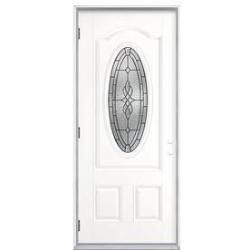 Shop ReliaBilt 36 In Decorative Outswing Fiberglass Entry Door At