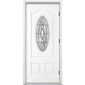 ReliaBilt Panama 2-Panel Insulating Core Oval Lite Left-Hand Outswing Primed Fiberglass Prehung Entry Door (Common: 36-in x 80-in; Actual: 37.5-in x 80.375-in)