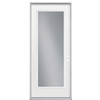 ReliaBilt Flush Insulating Core Full Lite Right-Hand Outswing Primed Fiberglass Prehung Entry Door (Common: 32-in x 80-in; Actual: 33.5-in x 80.375-in)