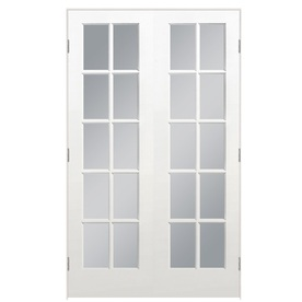 Shop masonite prehung solid core 10 lite clear glass pine for 48 inch french doors