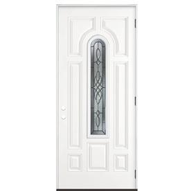 Shop Masonite Hampton 8 Panel Insulating Core Center Arch Lite Left Hand Outswing Primed Steel
