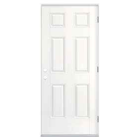 Shop masonite 6 panel insulating core left hand outswing 36 x 80 outswing exterior door
