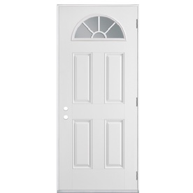 Shop Masonite 4 Panel Fan Lite Left Hand Outswing Primed Fiberglass Prehung Entry Door Common
