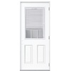 Masonite 2-Panel Insulating Core Blinds and Grilles Between The Glass Half Lite Left-Hand Outswing Primed Fiberglass Prehung Entry Door (Common: 32-in x 80-in; Actual: 33.5-in x 80.375-in)
