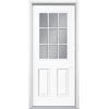 Masonite 2-Panel Insulating Core 9-Lite Left-Hand Inswing Primed Steel Prehung Entry Door (Common: 36-in x 78-in; Actual: 37.5-in x 79.5-in)