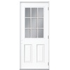 Masonite 2-Panel Insulating Core 9-Lite Left-Hand Outswing Primed Steel Prehung Entry Door (Common: 32-in x 80-in; Actual: 33.5-in x 80.375-in)