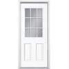 Masonite 2-Panel Insulating Core 9-Lite Left-Hand Inswing Primed Steel Prehung Entry Door (Common: 32-in x 74-in; Actual: 33.5-in x 75.5-in)