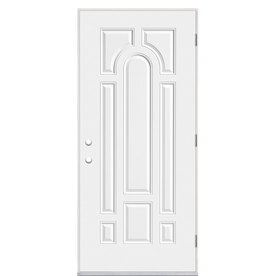 Shop Masonite 8 Panel Insulating Core Left Hand Outswing Primed Steel Prehung Entry Door Common