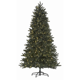 Holiday Living 7-1/2-ft Englewood Pine Pre-lit One Plug Quick Connect Christmas Tree with White LED Lights