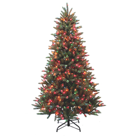 Holiday Living 7-ft Pine Pre-lit Artificial Christmas Tree with 550-Count Multicolor Lights