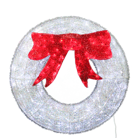 Holiday Living Lighted Wreath Outdoor Christmas Decoration with White LED Lights