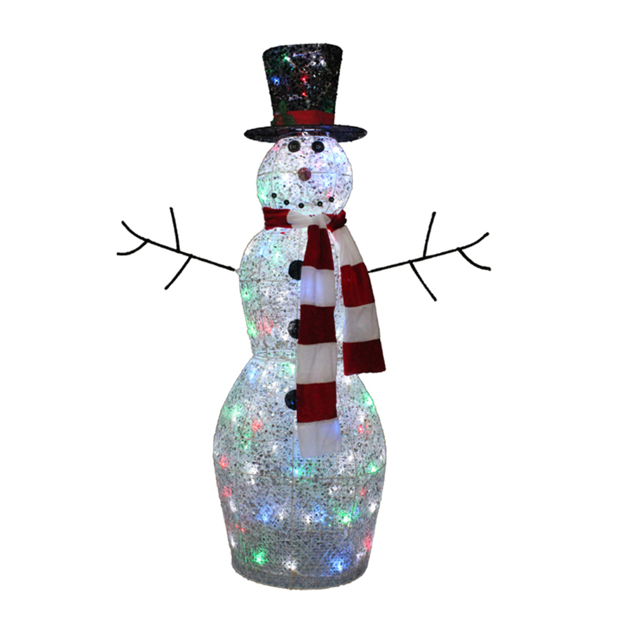4 ft tall multicolor twinkling lighted snowman outdoor for Outdoor lighted christmas ornaments