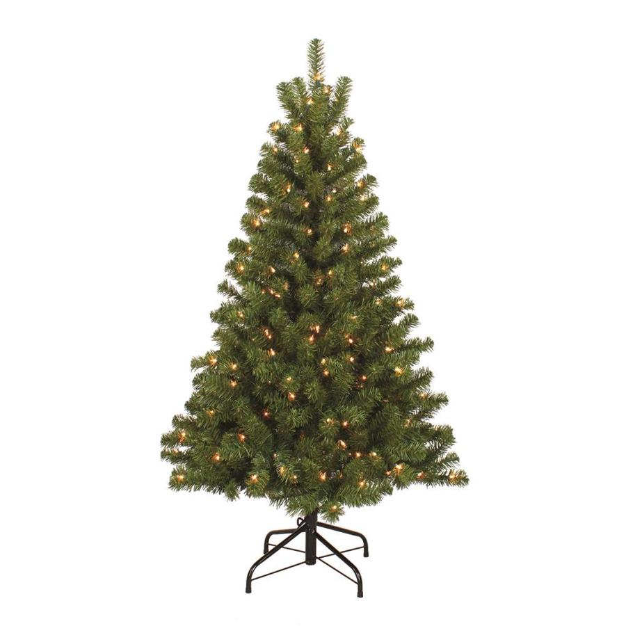 Shop holiday living 4 5 ft indoor outdoor pre lit pine Outdoor christmas tree photos