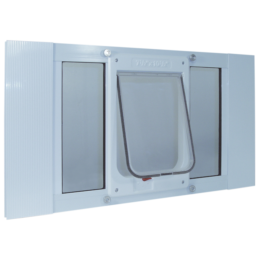 Shop ideal pet products medium white aluminum window pet for Ideal pet doors