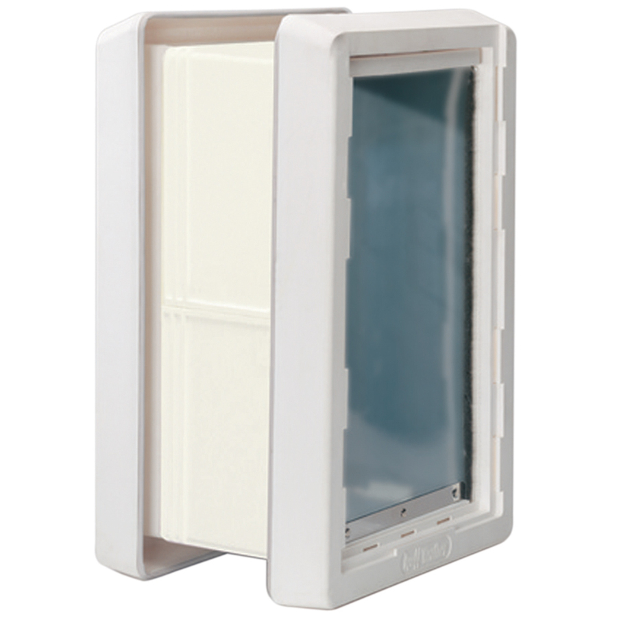 Shop ideal pet products medium cream plastic wall pet door for Ideal pet doors