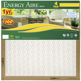 Energy Aire 4-Pack 12-in x 12-in x 1-in Pleated Air Filters