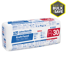 Johns Manville R30 24-in x 48-in Faced Fiberglass Batt Insulation with Sound Barrier
