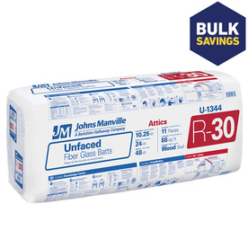 Johns Manville R30 24-in x 48-in Unfaced Fiberglass Batt Insulation with Sound Barrier