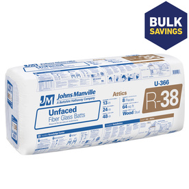Johns Manville R38 24-in x 48-in Unfaced Fiberglass Batt Insulation with Sound Barrier