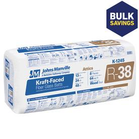 Johns Manville R38 24-in x 48-in Faced Fiberglass Batt Insulation with Sound Barrier