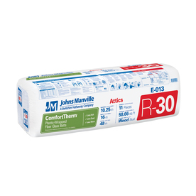 Johns Manville ComfortTherm R30 16-in x 0-in Faced Fiberglass Batt Insulation with Sound Barrier