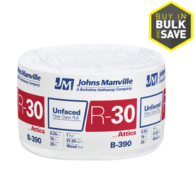 Johns Manville R30 15-in x 25-ft Unfaced Fiberglass Roll Insulation with Sound Barrier