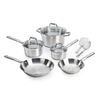 T-fal 10-Piece Elegance Stainless Steel Cookware Set with Lids