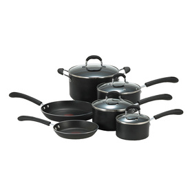 T-fal 10-Piece Professional Aluminum Cookware Set with Lids E938SA94