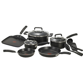 T-fal 12-Piece Signature Aluminum Cookware Set with Lids C111SC74