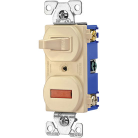 Eaton 1-Switch 15-Amp Single Pole Ivory Indoor Toggle Light Switch