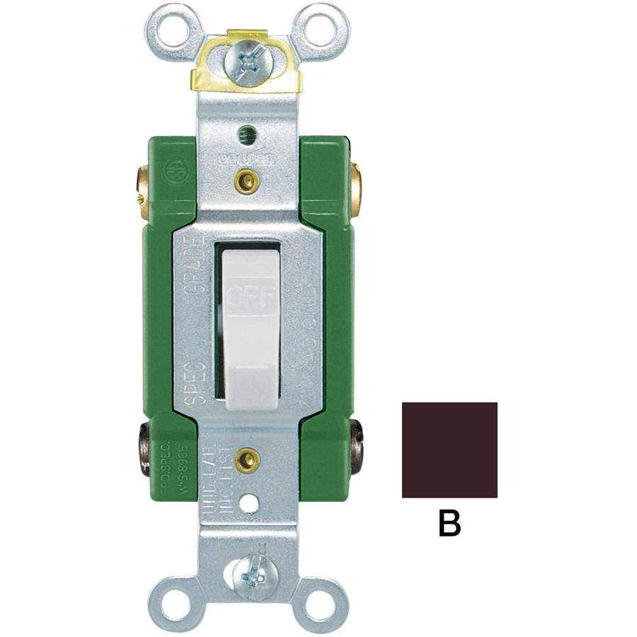 Shop Cooper Wiring Devices 30-Amp Brown Double Pole Light Switch at Lowes.com