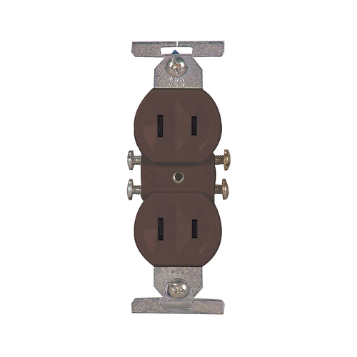Zoomed: Cooper Wiring Devices 15-Amp Brown Duplex Electrical Outlet