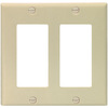 Cooper Wiring Devices 2-Gang Ivory Standard Duplex Receptacle Plastic Wall Plate