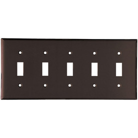 Cooper Wiring Devices 5-Gang Brown Toggle Wall Plate