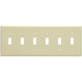 Cooper Wiring Devices 6-Gang Ivory Standard Toggle Nylon Wall Plate