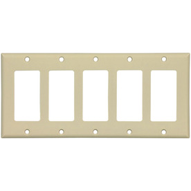 Cooper Wiring Devices 5-Gang Ivory Decorator Plastic Wall Plate